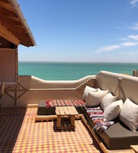 Belle terrasse vue mer stage de kitesurf dakhla