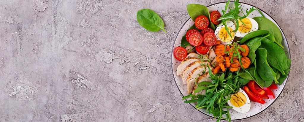 Plat sain avec légumes et protéines